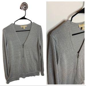 Michael Kors Silver Sparkly Lon Sleeve Sweater